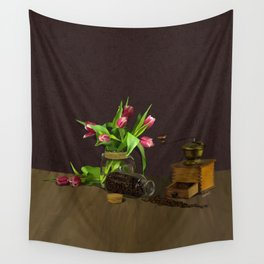 Tulips & Coffee Wall Tapestry
