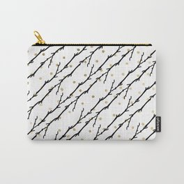 White faux gold polka dots black watercolor tree branch Carry-All Pouch