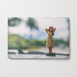 Hawaii road trip hula doll on car dashboard Metal Print