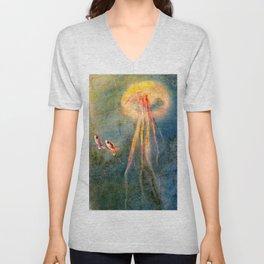 Glow of the jellyfish Unisex V-Neck