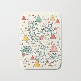 Succulent and triangles seamless pattern Bath Mat