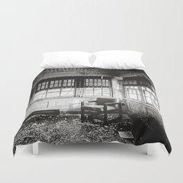 Abandoned School Lounge - Black & White Duvet Cover