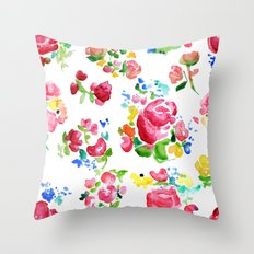 Watercolor Roses Throw Pillow