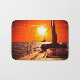 Yacht at Sunset Bath Mat