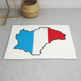 Luxembourg Map with Luxembourger Flag Rug