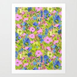 Wild GardenPink on Lime Art Print