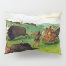 George Catlin Buffalo Chase, Bulls Making Battle with Men and Horses Pillow Sham