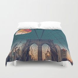 Blood Moon over the Brooklyn Bridge and New York City Duvet Cover