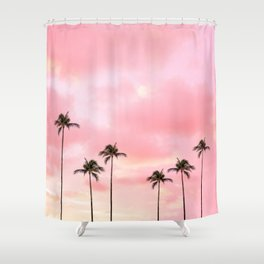 Palm Trees Photography | Hot Pink Sunset Shower Curtain