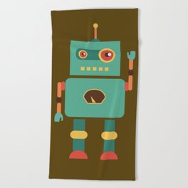 Fun Robot Toy Graphic Beach Towel
