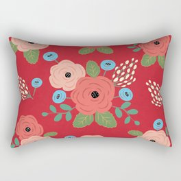 Flower Pattern, Pink Blue Flowers on Red, Vintage Floral Design Rectangular Pillow