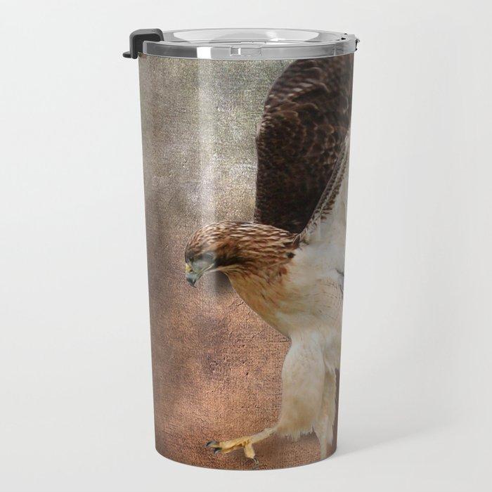 Red Tail Hawk in Vintage Light Travel Mug