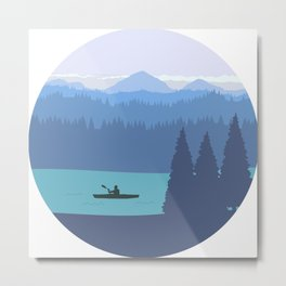 Kayak, forest and mountains Metal Print