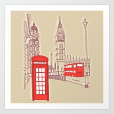 City Life // London Red Telephone Box Art Print