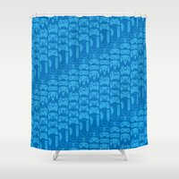 video game Shower Curtains featuring Video Game Controllers - Blue by C.Rhodes Design