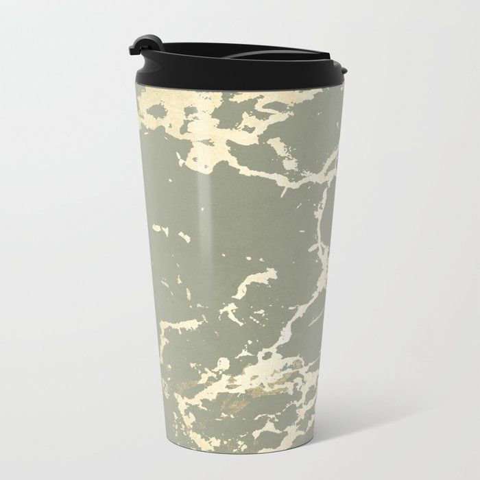 Kintsugi Ceramic Gold on Green Tea Metal Travel Mug