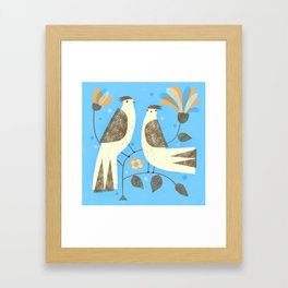 BIRDS ON BLUE Framed Art Print