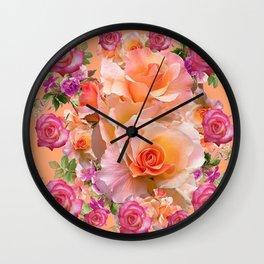 PEACHY PINK VICTORIAN ROSE VIGNETTE Wall Clock