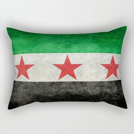 Independence flag of Syria, in grungy vintage style Rectangular Pillow