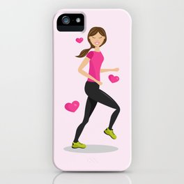 Cute Girl Who Loves To Run Cartoon Illustration iPhone Case