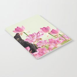 Lotus Flower Blossoms Black Cat Notebook
