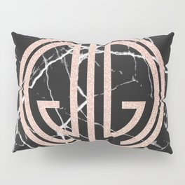 great Gatsby rose gold black marble Pillow Sham