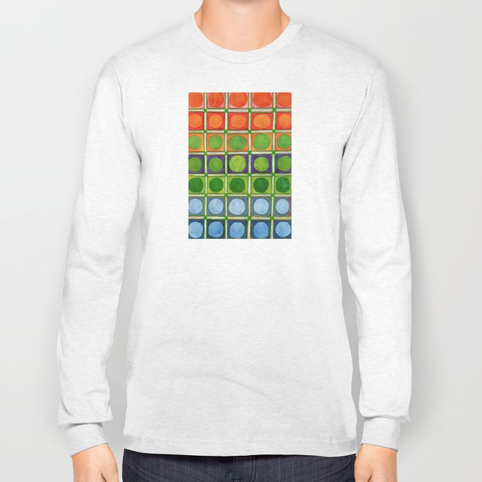 Beautiful Rainbow Colored Circles in a Grid Long Sleeve T-shirt