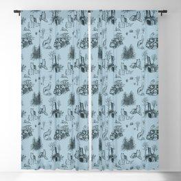 Eurasian Wolf Toile Pattern (Blue-Gray) Blackout Curtain