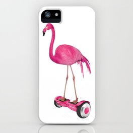 Flamingo on the Hover Board iPhone Case