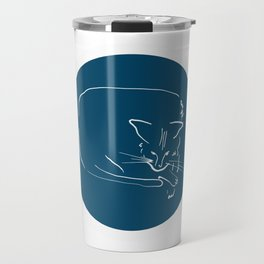 Relaxing Cat in blue circle Travel Mug