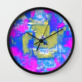Just Relax - Abstract, pink, blue and yellow painting Wall Clock