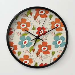 Graphic flowers:Royal orange Wall Clock