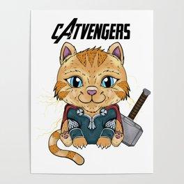cat-venger super hero funny Poster