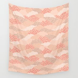 Dashes and dots in blush pink // abstract pattern Wall Tapestry