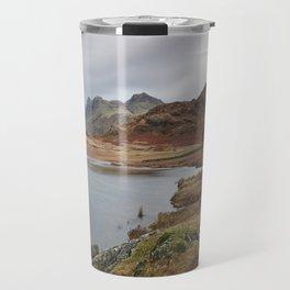 Blea Tarn with Langdale Pikes beyond. Cumbria, UK. Travel Mug