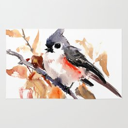 titmouse in the fall, Fall colors, birds and flowers bird art Rug