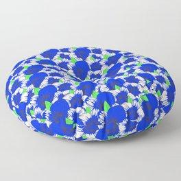 Nature Flower Pattern Blue Orchid Floor Pillow