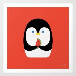 Penguin + Watermelon Art Print