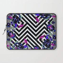 Geometric  black-White Morning Glories Grey Pattern Garden  Art Laptop Sleeve