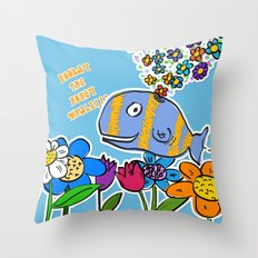 HOORAY THE HONEY WHALE Throw Pillow