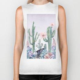 Desert Cactus Succulents + Gemstones on Lilac Purple Biker Tank