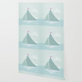 Peaceful seascape with sailboats Wallpaper