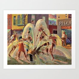 African American Masterpiece, Children Playing, Malcolm X Blvd Fire Hydrant landscape by K. Markham Art Print