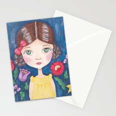 Hungarian girl on blue Stationery Cards