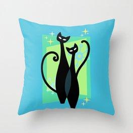 Sassy Sparkling Atomic Age Black Kitschy Cats Throw Pillow