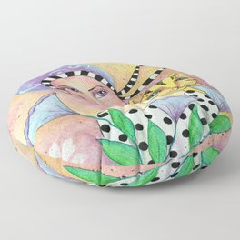 Whimsy Girl with Cat Floor Pillow