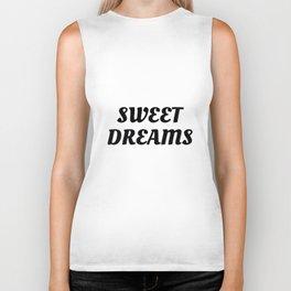 Sweet Dreams in Cursive in Black Biker Tank