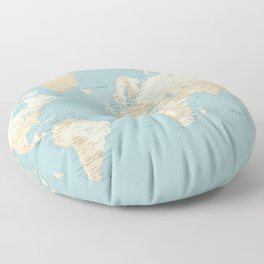 "Cream, brown and muted teal world map, ""Jett"" Floor Pillow"