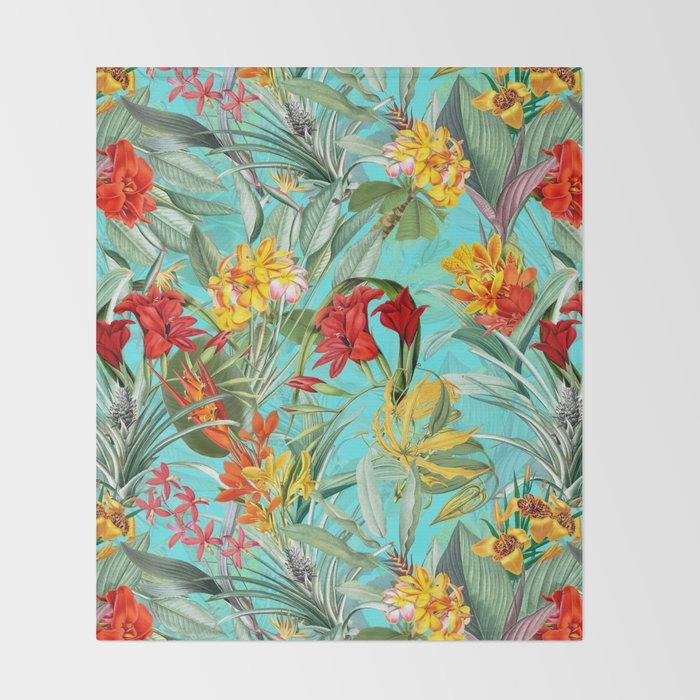 Vintage & Shabby Chic - Pierre-Joseph Redouté -Colorful Tropical Blue Garden Throw Blanket