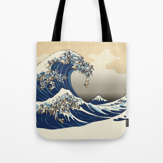 The Great Wave of Pugs Vanilla Sky by huebucket